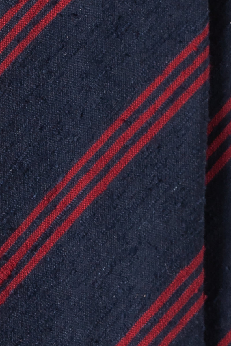 Silk Shantung / Striped Navy Red - Brunati Como