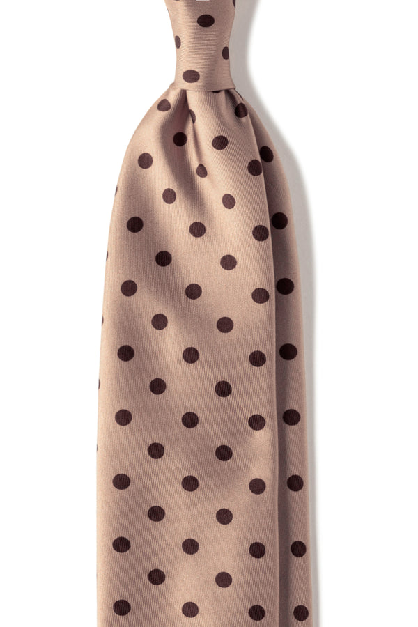 Handrolled Polka Dot Silk Tie – Crème / Brown