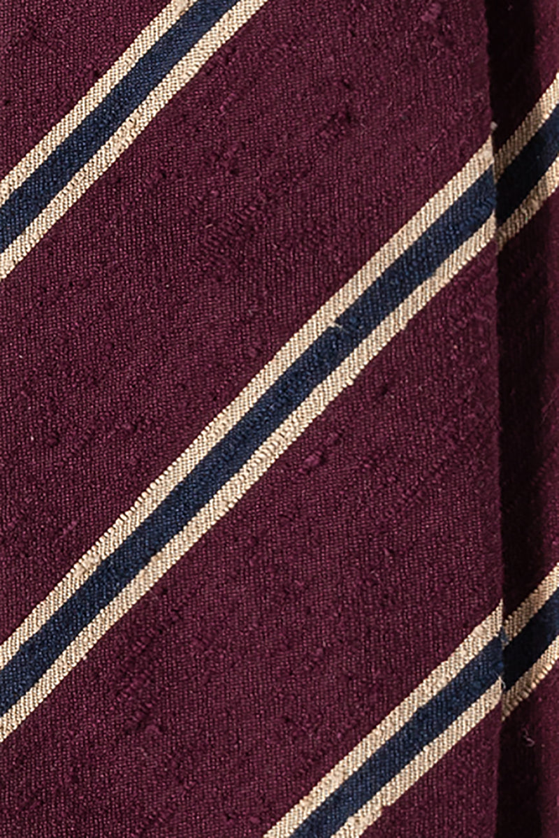 Silk Shantung / Bordeaux Navy Beige Stripes