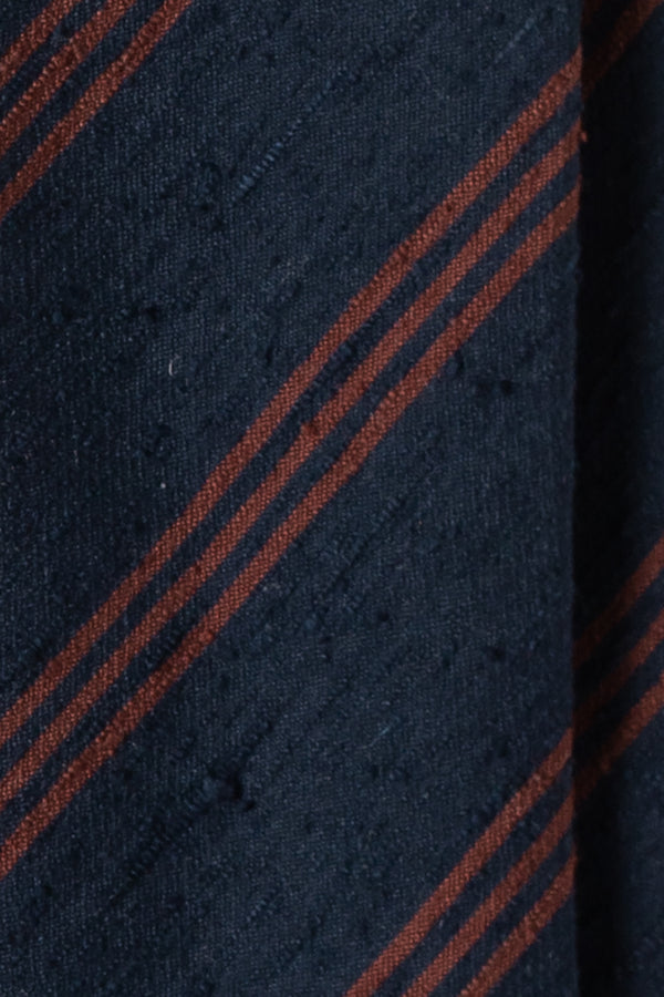 3-Fold Striped Silk Shantung Tie - Navy/Brown - Brunati Como