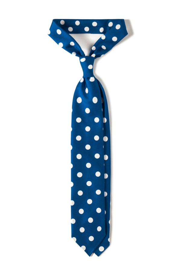 Handrolled King Of Polka Dots Silk Tie – Royal Blue / White