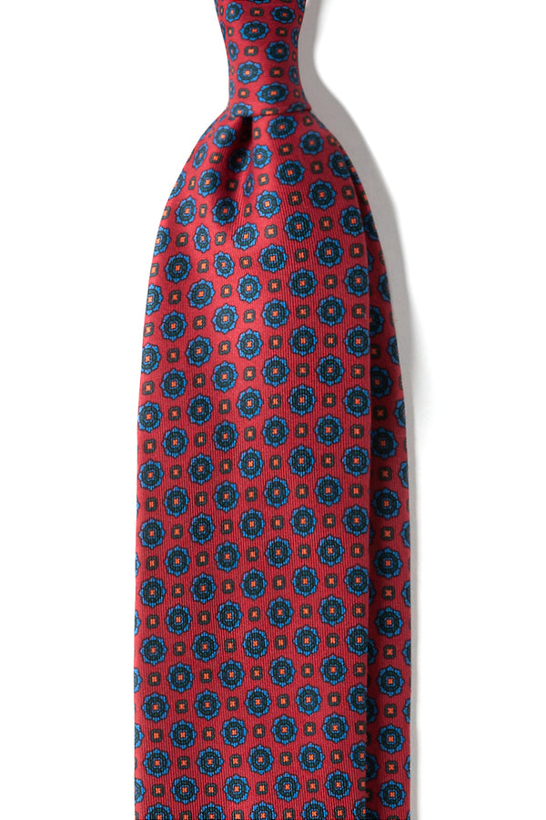 3-Fold Floral Ancient Madder Silk Tie - Red - Brunati Como