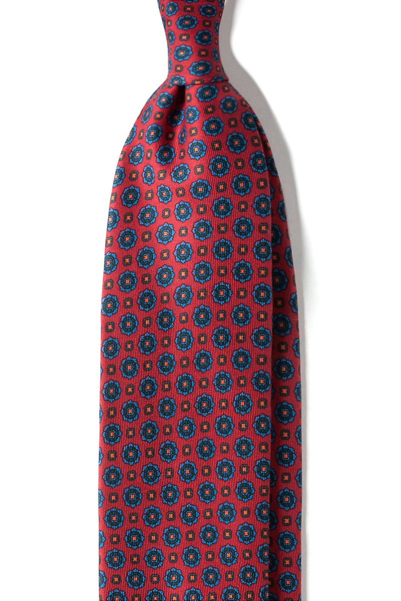 3-Fold Floral Ancient Madder Silk Tie - Red