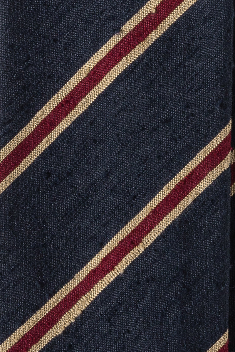 Silk Shantung / Navy Bordeaux Beige Stripes
