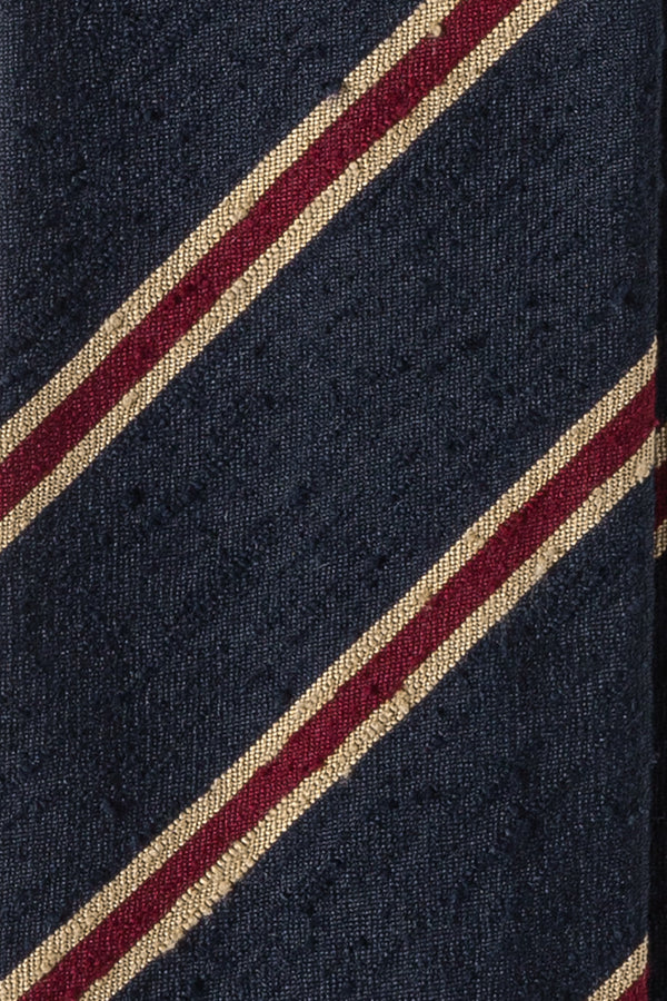 Striped Silk Shantung Tie - Navy/Beige/Burgundy