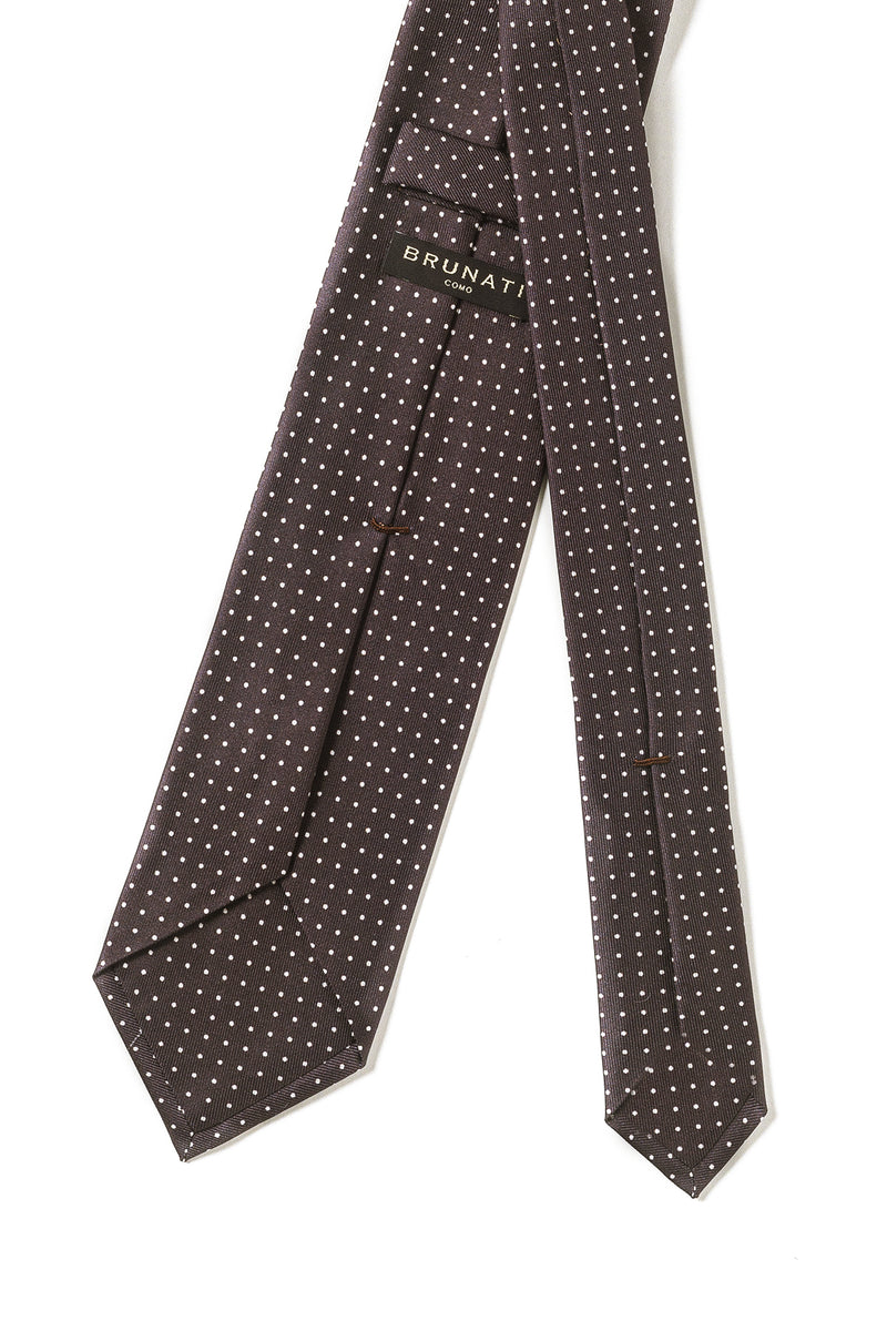 Handmade In Italy Luxury Small Polka Dot Silk Tie - Brown