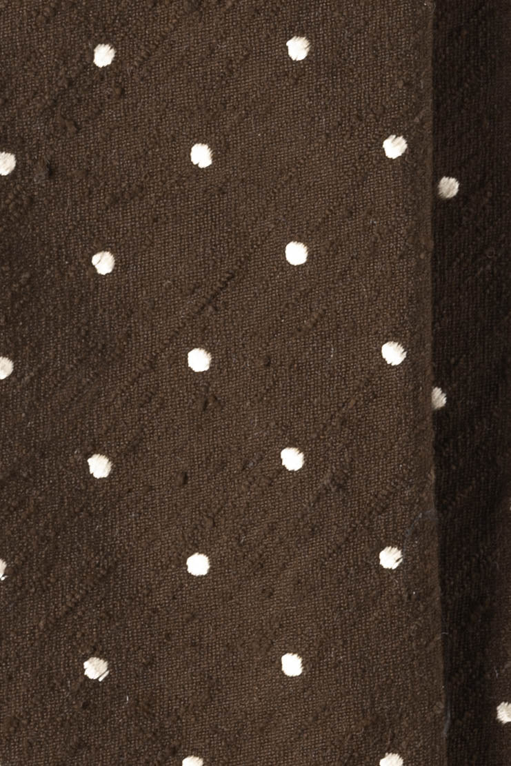 Silk Shantung Polka Dots / Brown White - Brunati Como
