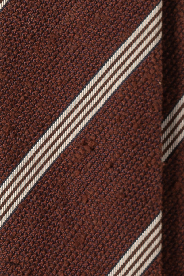 Striped Silk Grenadine Shantung Tie - Brown/White