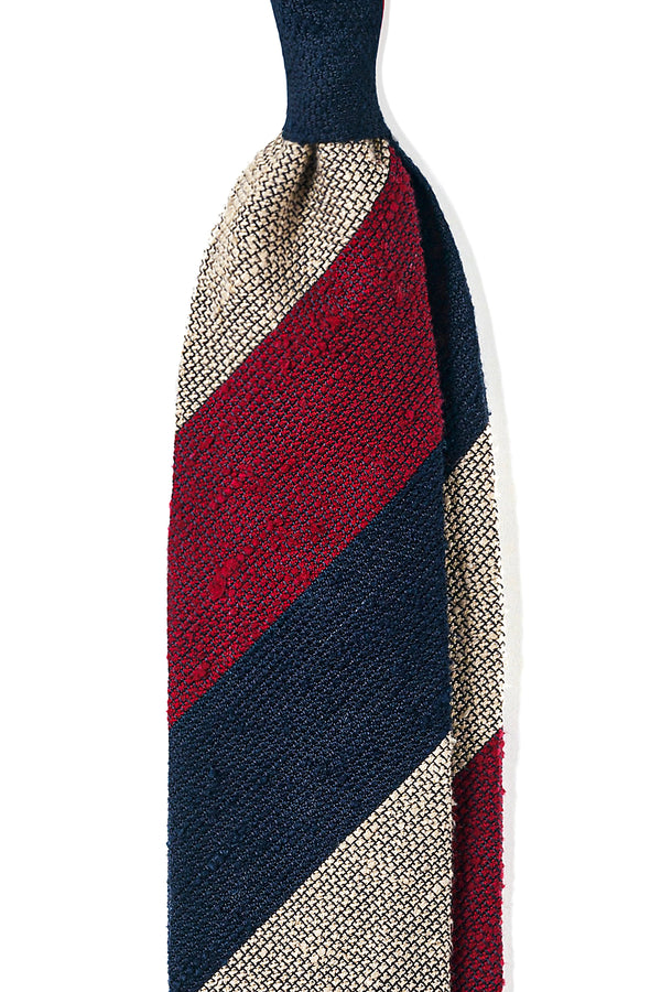 3-Fold Striped Grenadine Shantung Tie - Burgundy/Navy/Beige