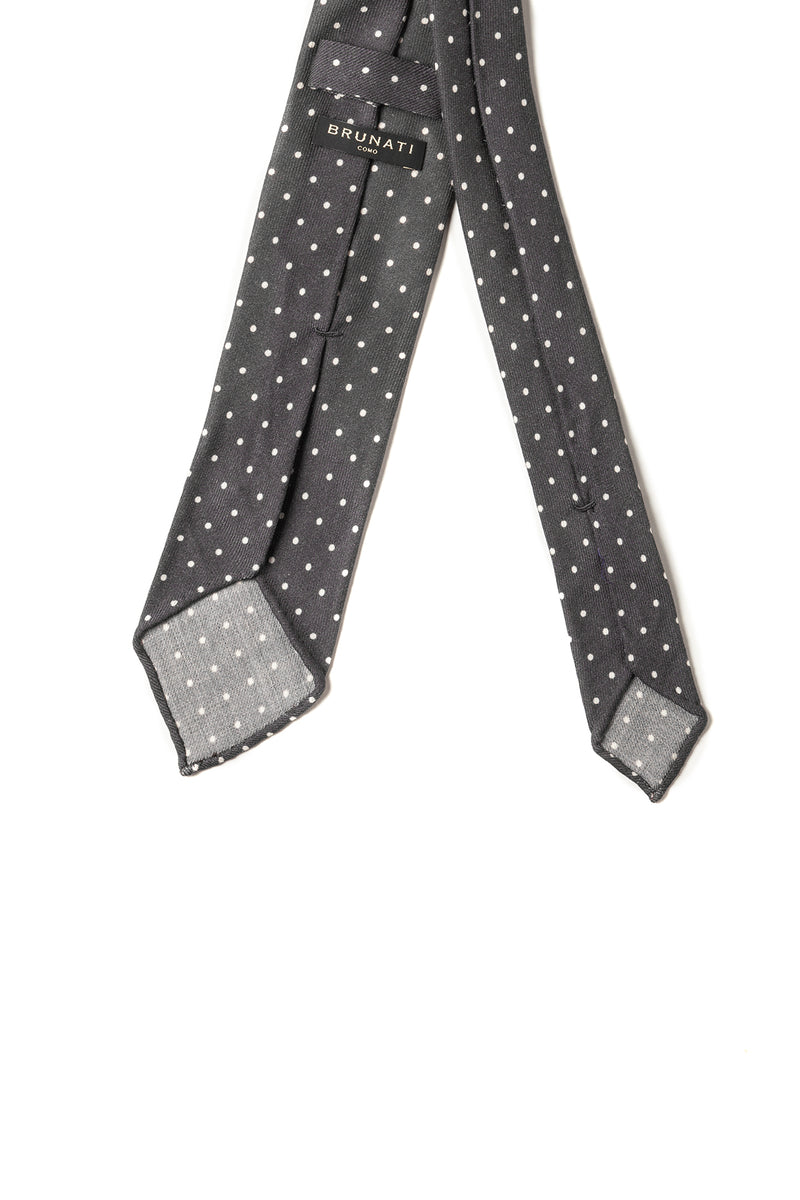 3-FOLD SOFT ENGLISH WOOL POLKA DOT TIE - Grey/WHITE - HANDROLLED - Brunati Como