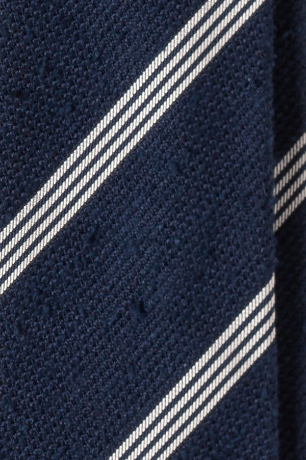 3-Fold Striped Silk Grenadine Shantung Tie - Navy/White
