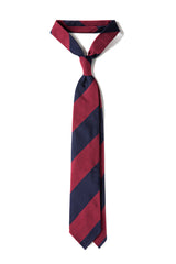3-Fold Striped Silk Jacquard Repp Tie - Navy/Red