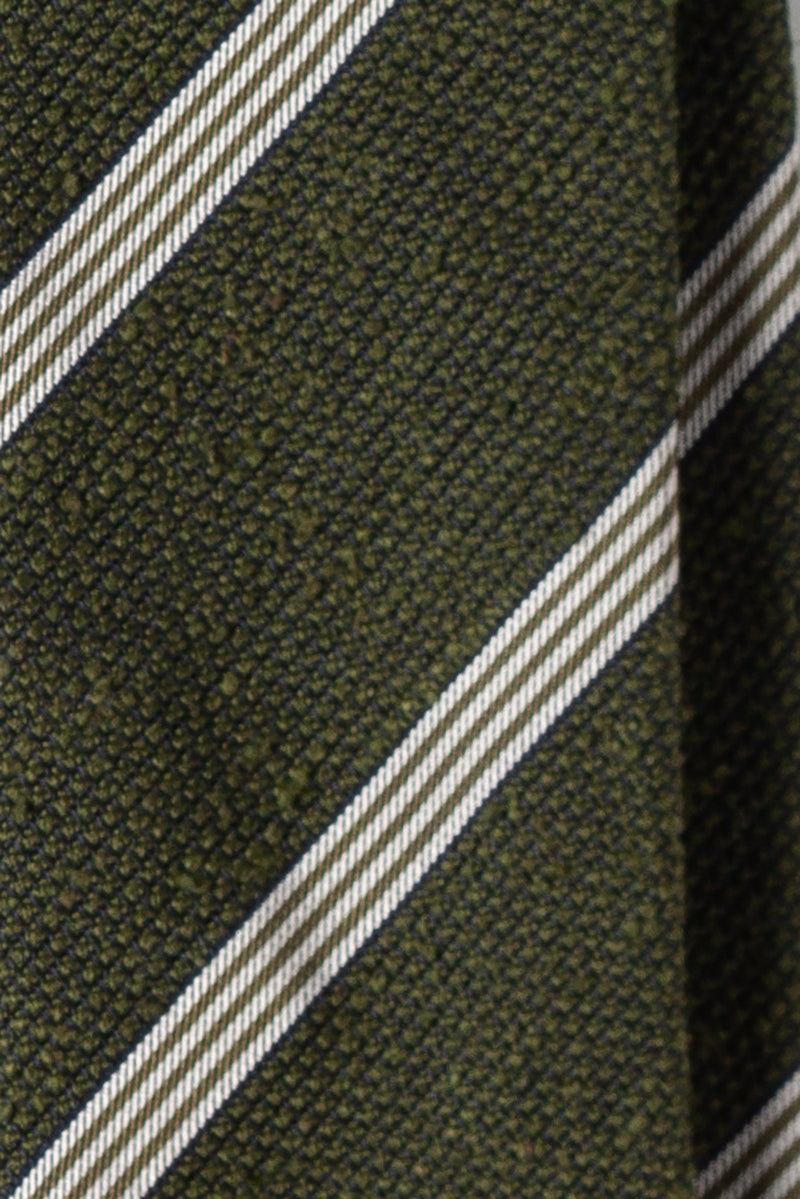 Silk Grenadine Shantung / Striped Olive White Navy
