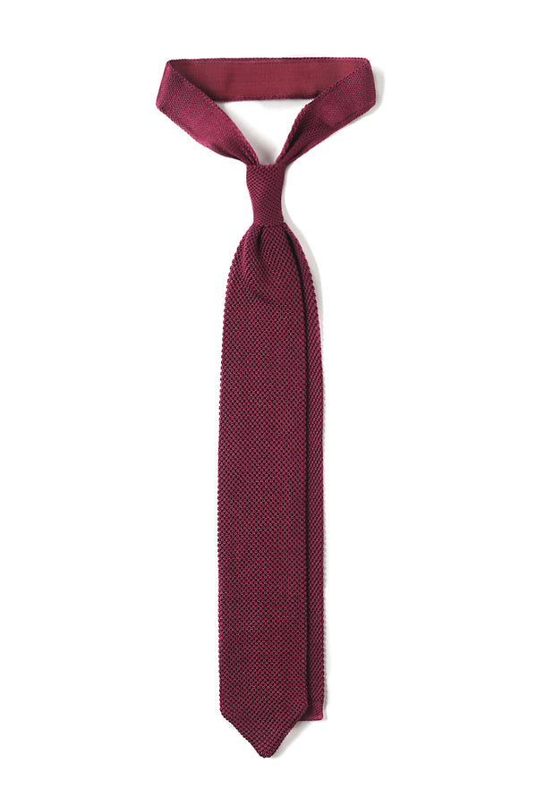 Italian Silk Knitted Tie - Burgundy