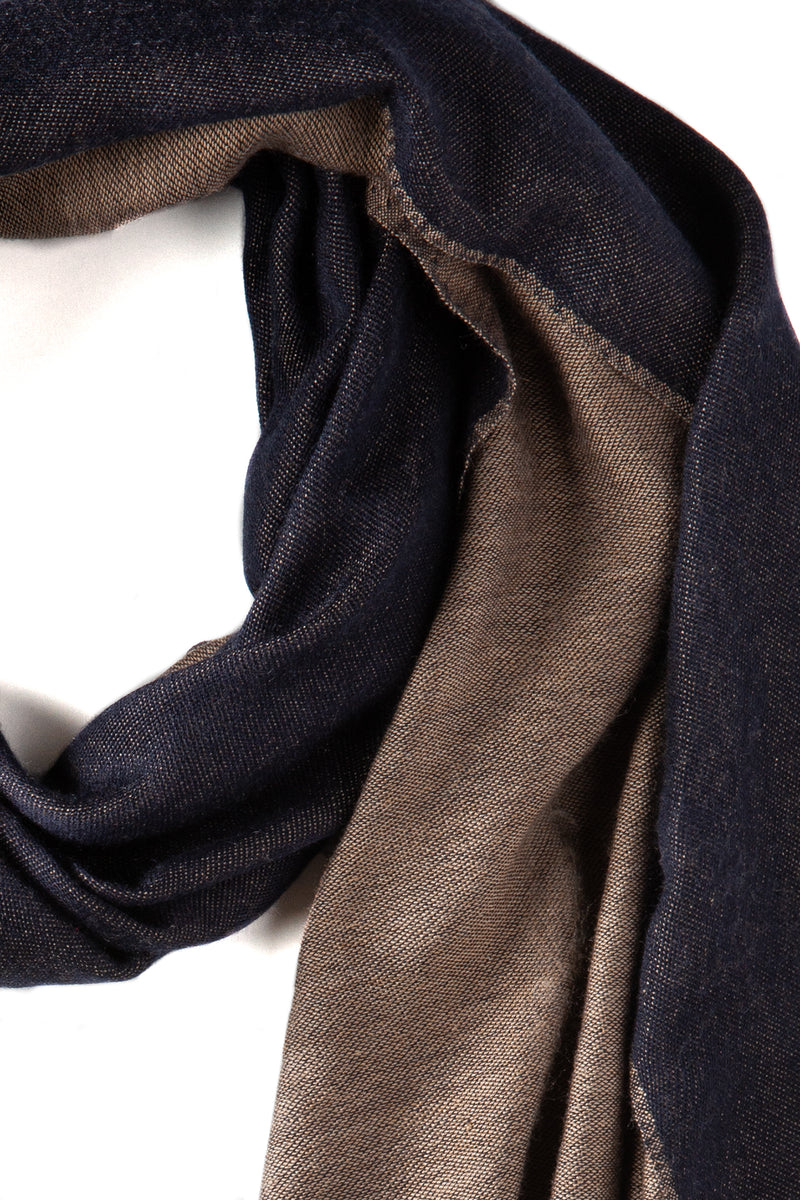 Doubleface Natural Cashmere Scarf - Brown/Navy - Brunati Como