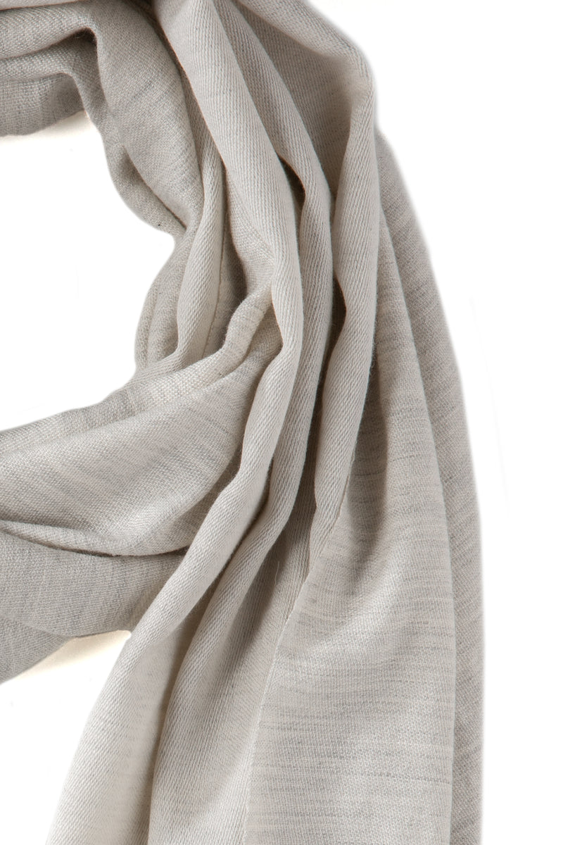 Doubleface Natural Cashmere Scarf - Light Grey/Off White