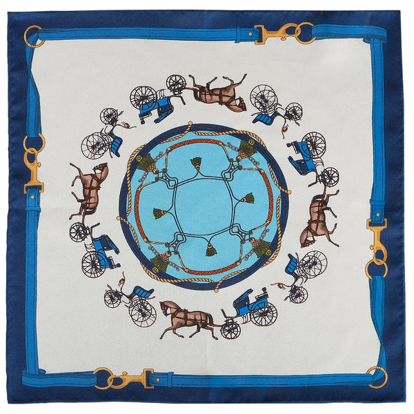 Horse Carriage Pattern Silk Pocket Square - Navy Blue - Brunati Como