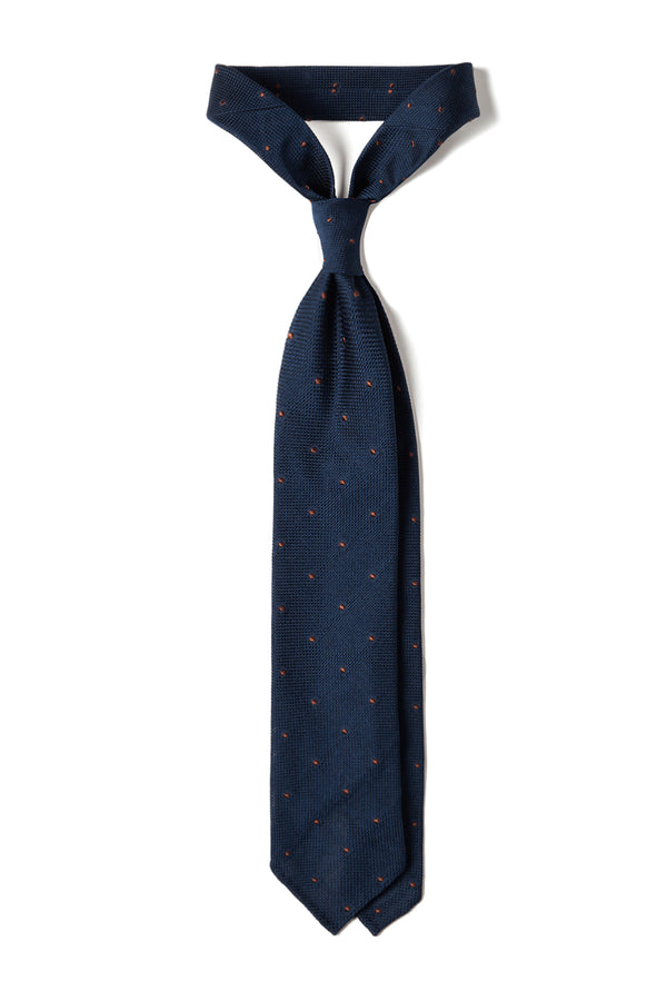 Handrolled Polka Dot Silk Grenadine Tie - Navy/Gold Brown
