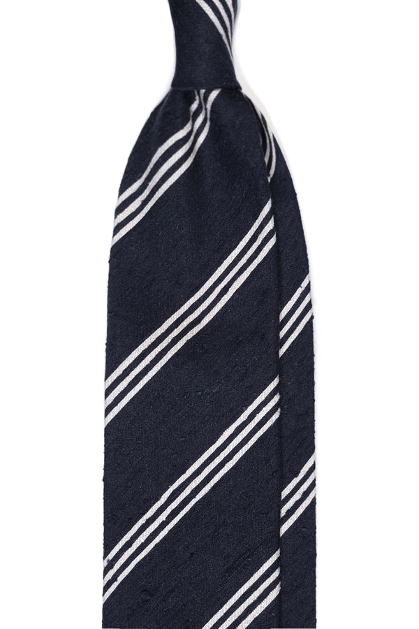 3-Fold Striped Silk Shantung Tie - Navy/White