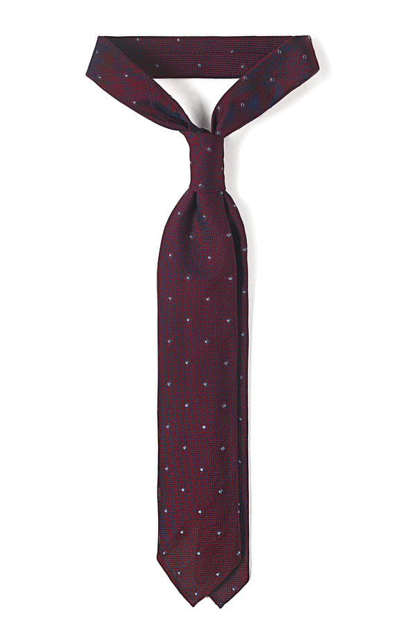 Silk Grenadine Polka Dot Bordeaux Tie - Brunati Como