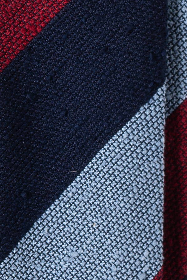 Block Striped Grenadine Shantung Tie - Red/Navy/Light Blue