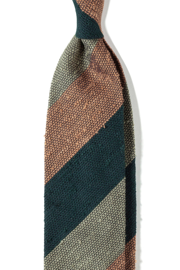 Striped Grenadine Shantung Tie - Green/Beige/Mustard