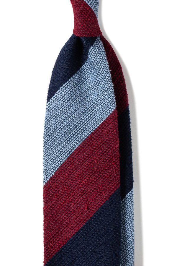 Striped Grenadine Shantung Tie - Red/Navy/Light Blue - Brunati Como