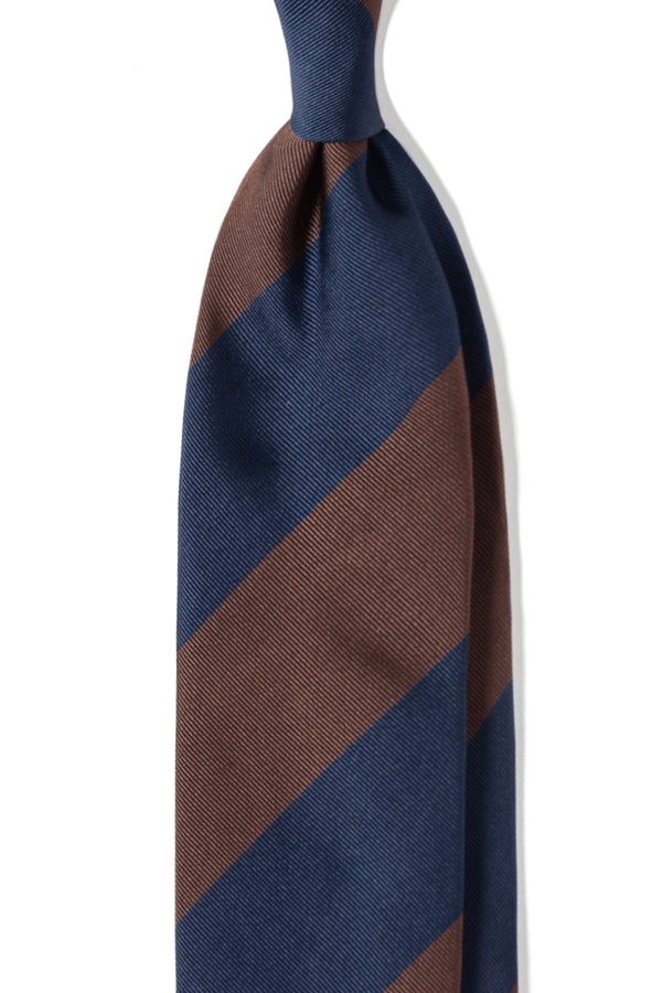 3-Fold Striped Silk Jacquard Repp Tie - Brown/Navy - Brunati Como