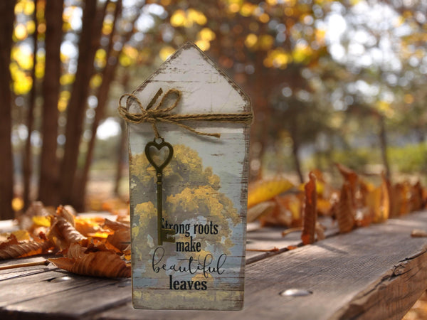 "Rustic Wood ""Farmhouse"" Key Block~ ""Strong roots make beautiful leaves"""