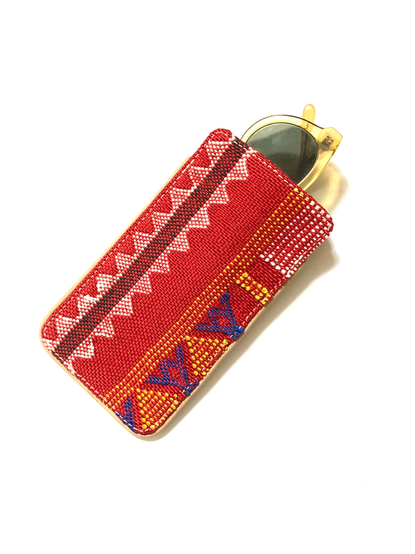#012 Red Sabra Silk Eyeglass Case
