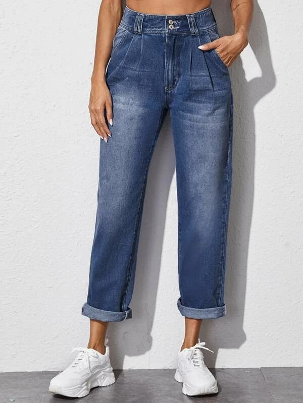 Bleach Wash Pleated Detail Mom Jeans