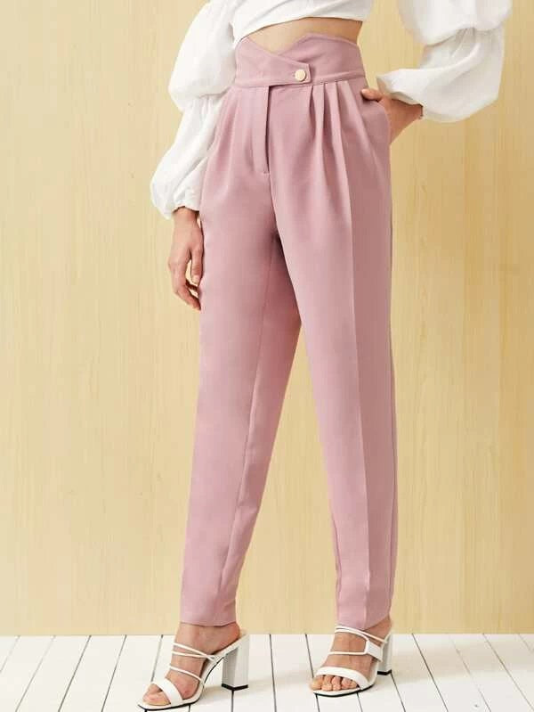 Buttoned Notch Waist Fold Pleated Tailored Pants