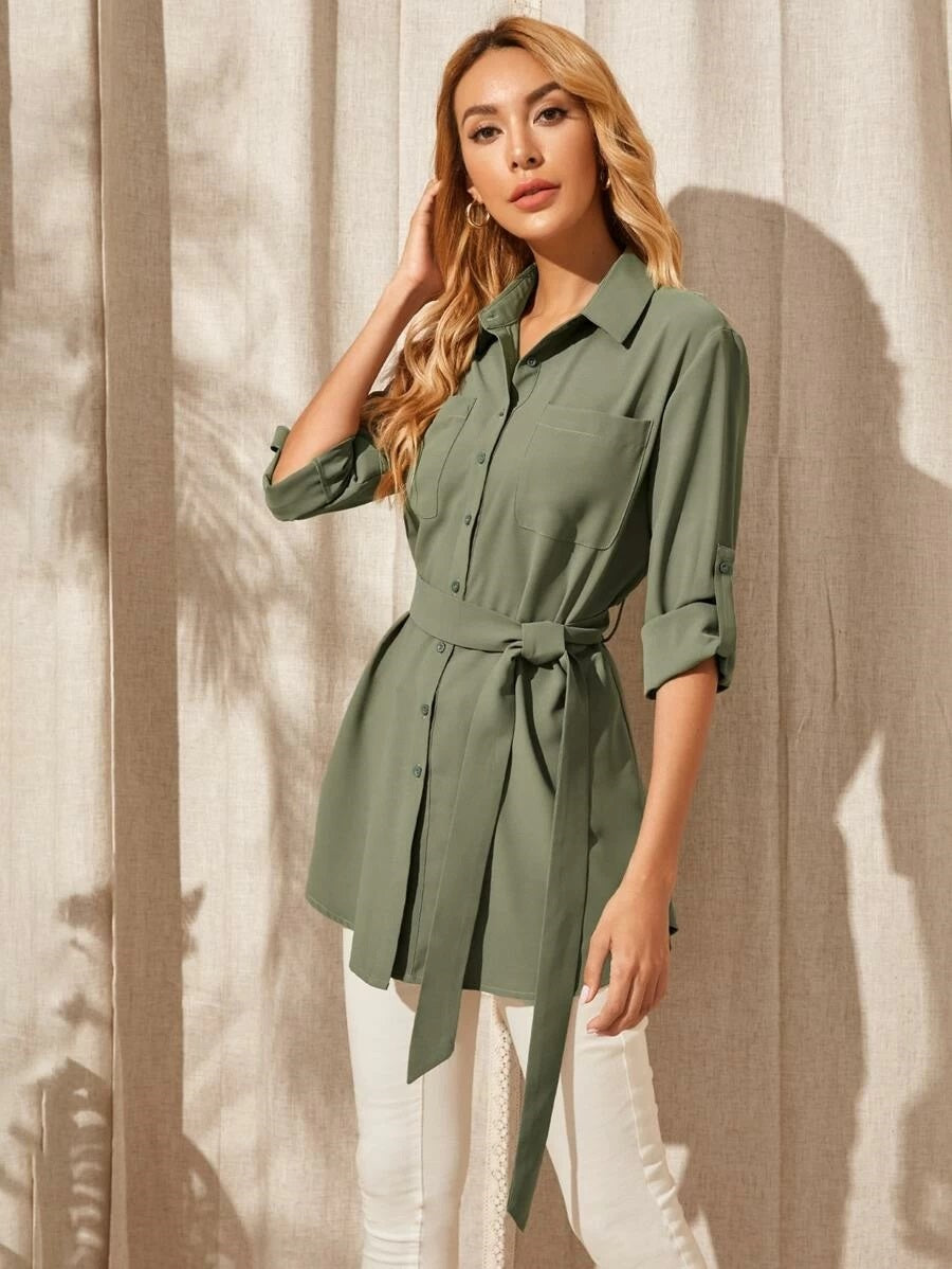 Roll Up Sleeve Pocket Patched Self Belt Blouse