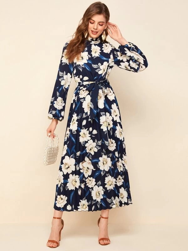 Frilled Neck Floral Print Pleated Belted Dress