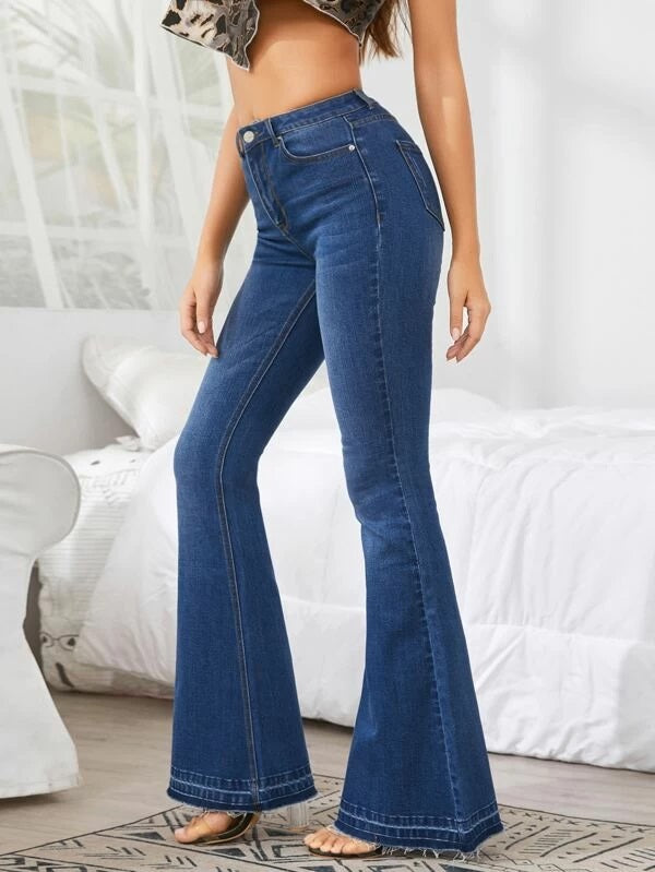 Mid Wash Flare Leg Jeans