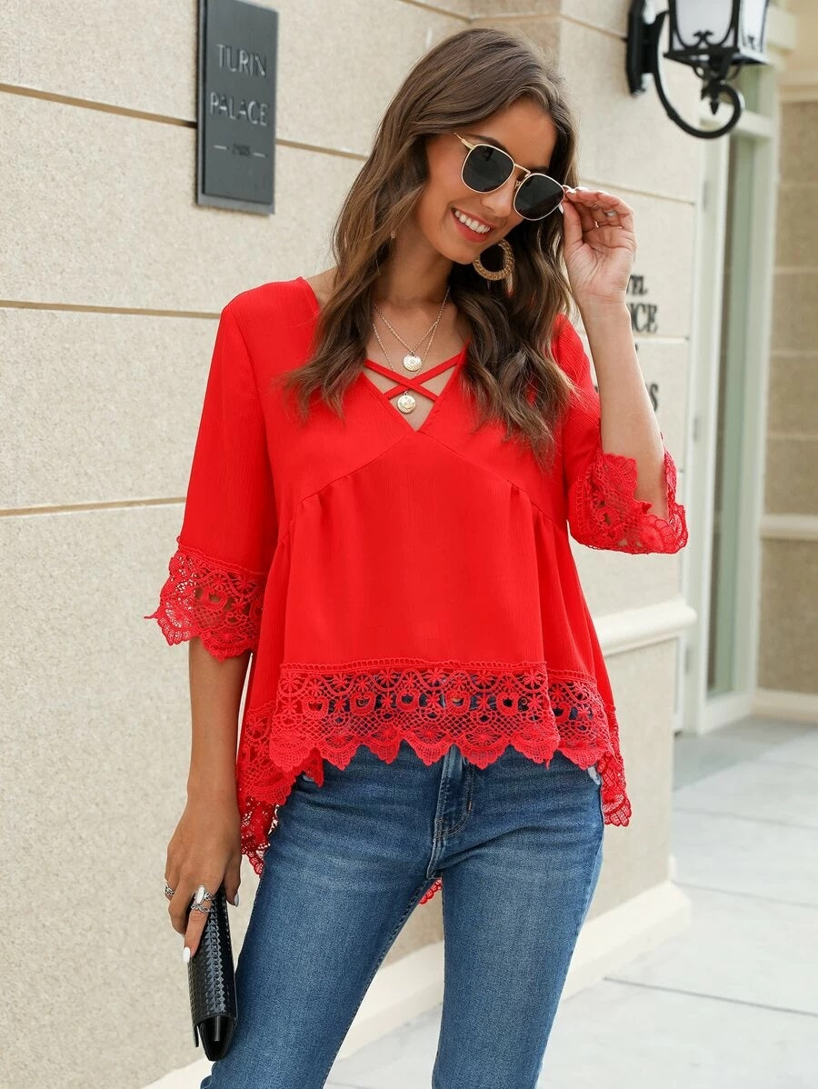 Criss Cross Front Contrast Lace Trim Blouse