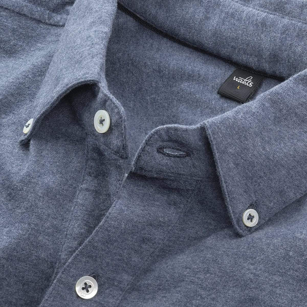 WAHTS M SHIRT WAHTS - ''FLEMING'' JERSEY SHIRT BUTTON DOWN - JEANS BLAUW