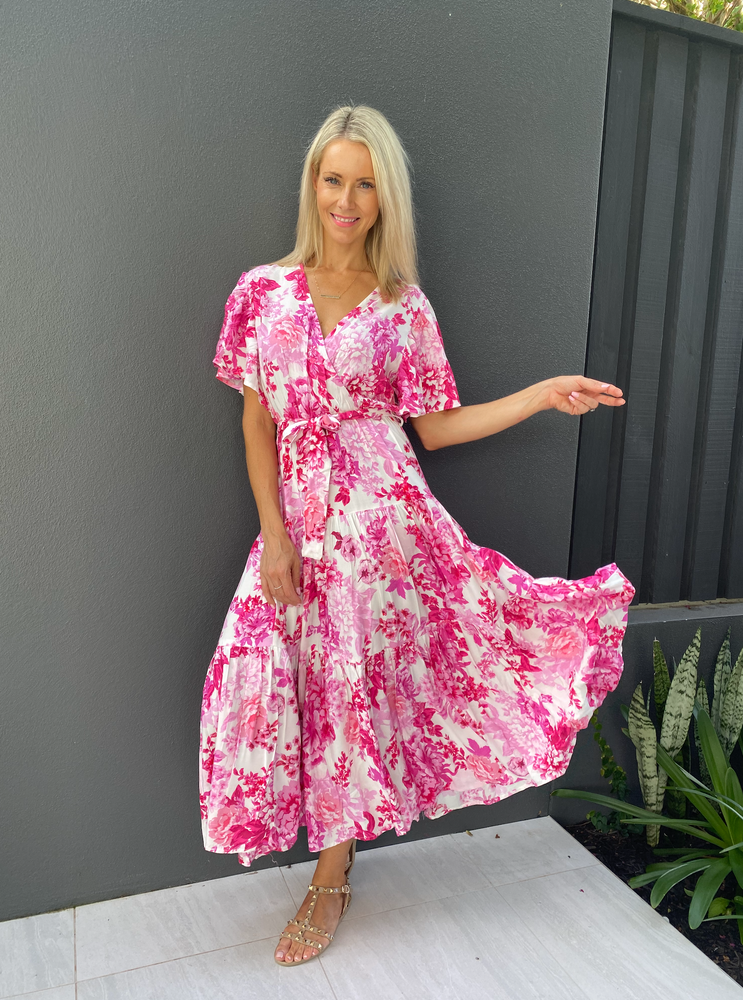 Load image into Gallery viewer, Vicki Floral Wrap Dress