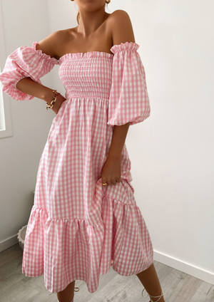 Trixie Pink Gingham Dress