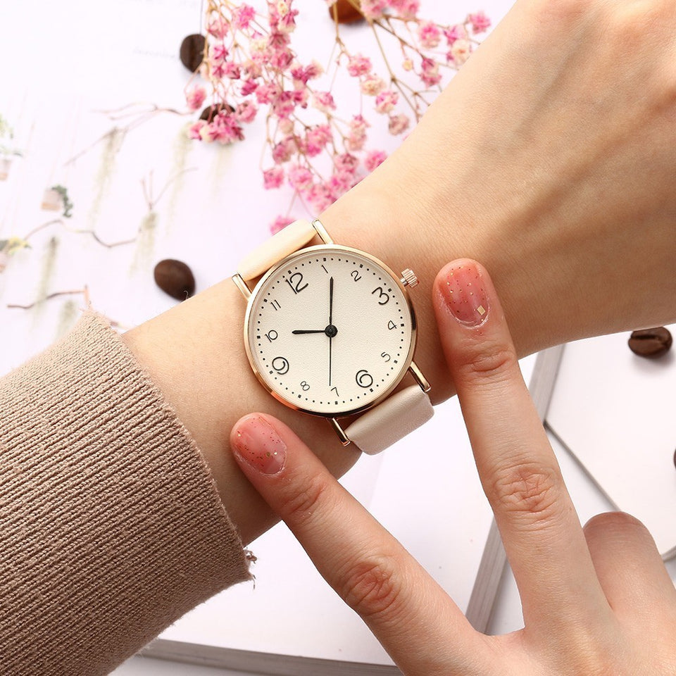 Top Style Fashion Women's Luxury Leather Band Analog Quartz Wrist Watch Golden Ladies Watch Women Dress Reloj Mujer Black Clock