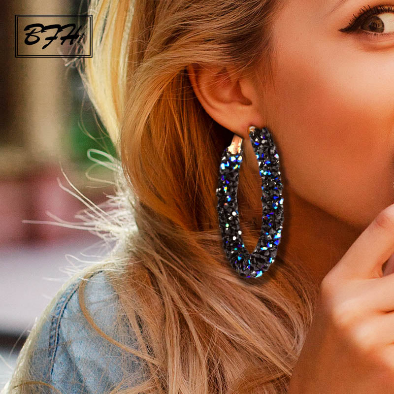 BFH Big Earrings for Women Fashion Shiny Gold Drop Earrings Geometric серьги женские Jewelry женская 2019