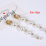 Trendy Exaggerated Big Simulated Pearl Long Dangle Clip On Earrings Without Piercing for Women Wedding Party Ear Clips Gift