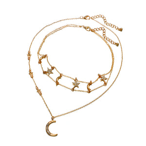 Tocona Bohemian Moon Stars Pendant Chokers Necklaces Multi Layer Gold Alloy Chain Necklace Collar for Women Jewelry 5604