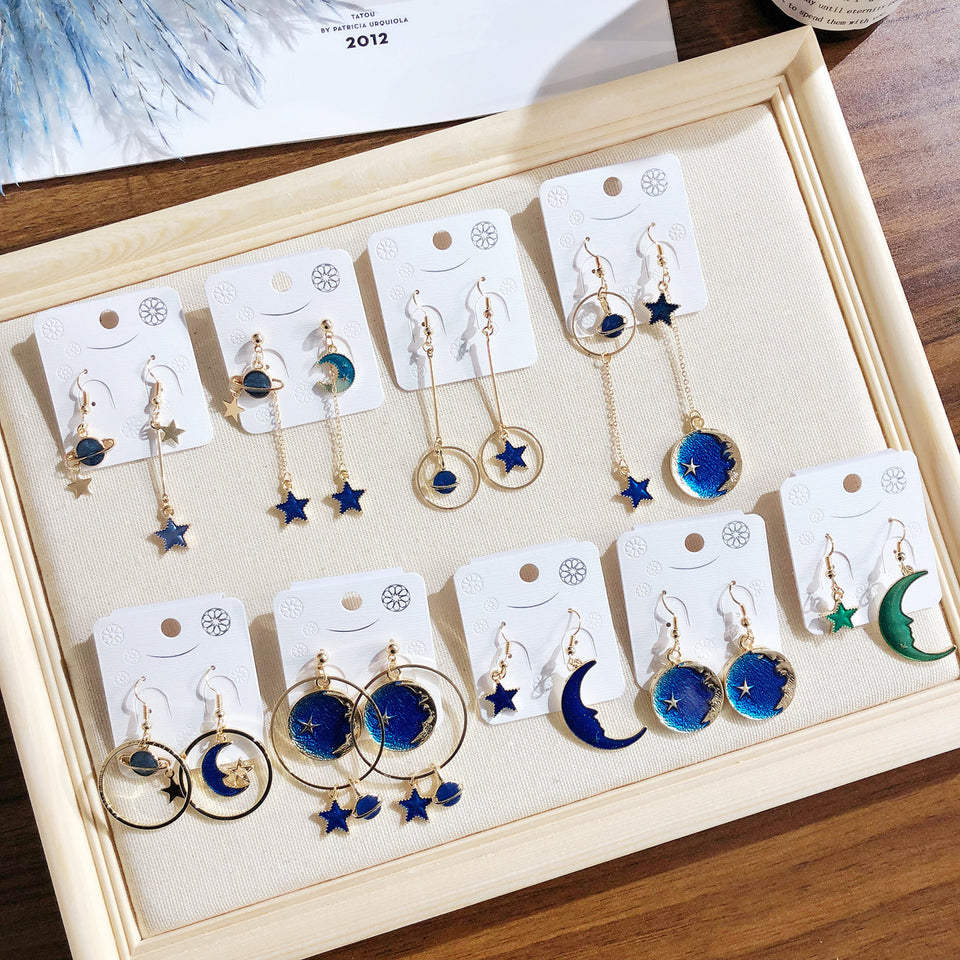 Doreen Box New Butterfly Romantic Starry Sky Series Earrings Symphony Star Moon Asymmetry Hook Earrings for Woman Girl Gifts