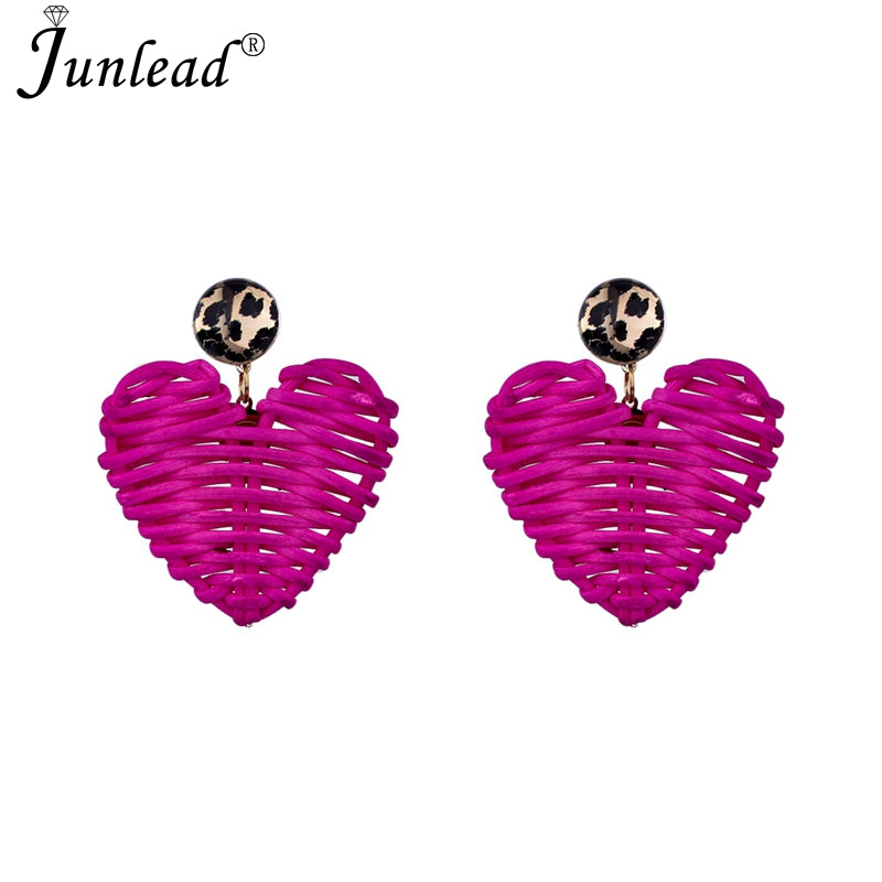 Junlead New Handmade Wooden Straw Weave Rattan Earring Brown Vine Braid Geometric Big Round Drop Earrings For Women Jewelry 2019
