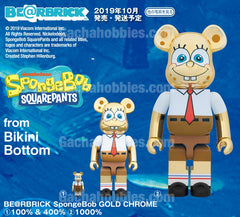BE@RBRICK SpongeBob GOLD CHROME 100% & 400%, 1000% (Pre-order)