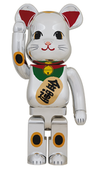 Be@rbrick Silver Lucky Cat Beckoning Cat 3 1000% Limited (Pre-order)