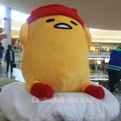 Gudetama Winter Plush with Furry Red Hat