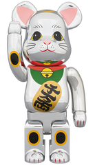 Be@rbrick Silver Lucky Cat 3 400% Limited (Pre-order)