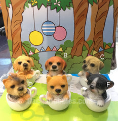 Ceramic Dog in Cup Figure 6 Pieces (In-stock)